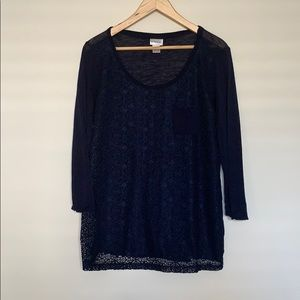 Navy blue maternity shirt with lace overlay